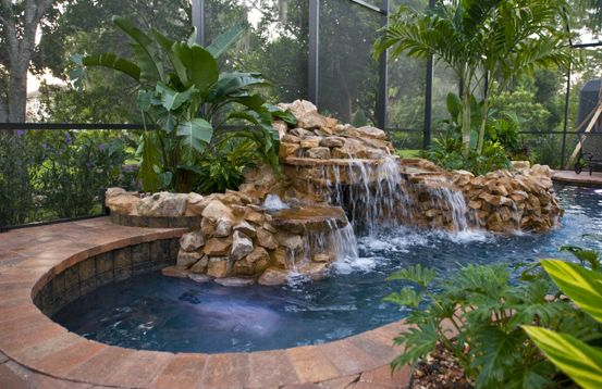 Pool With Grotto Waterfall Small Backyard Pools