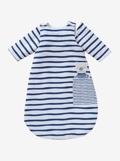 Long-Sleeved Baby Sleep Bag, Fun Sailor Theme - WHITE LIGHT ALL OVER PRINTED - 1