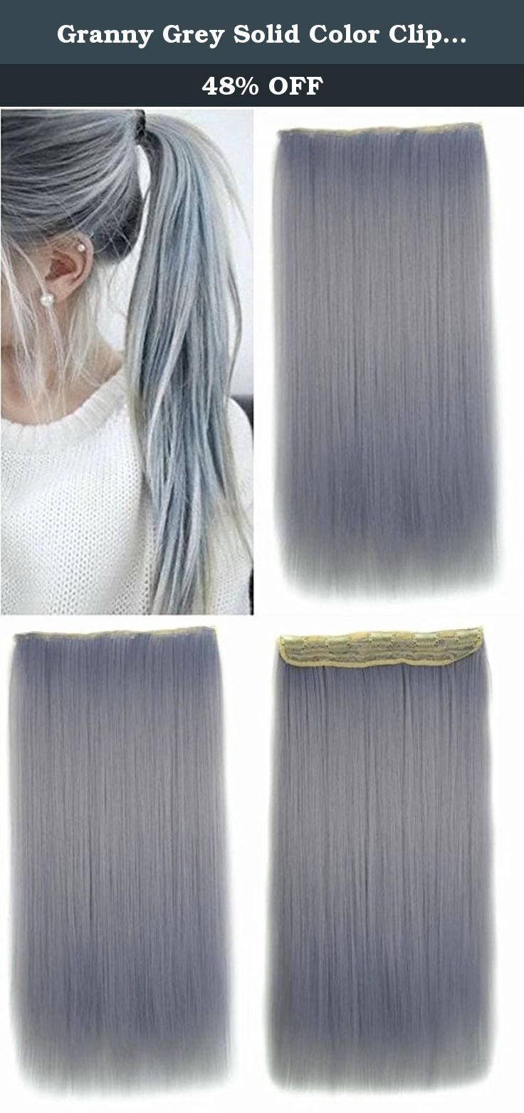 """Granny Grey Solid Color Clips in Hair Extension, High Heat Resistant Synthetic Hair Extensions UF263. Name: Granny Grey Solid Color Clips in Hair Extension, High Heat Resistant Synthetic Hair Extensions UF263 Model: UF263 Hair Length: 24 inches Hair Weft Width: 8.5±0.3 inches, ear to ear Hair Colour: Granny Grey Hair Quality: High Heat Resistant Synthetic Hair Heat Friendly: Yes Texture: silky straight Approx. Weight: 125g Contents: one 8.5"""" wide wefts (5 clips) App. Method: Clip-In ."""
