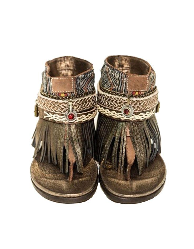 """BOHO SANDALS- """"Custom made brown fringe sandals"""""""