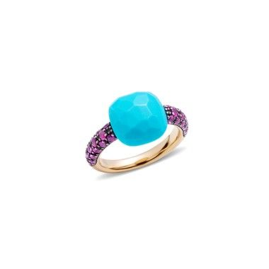 ROSE GOLD RING,TURQUOISE, AND BRILLIANT CUT RUBIES (0.76 CT)    http://store.pomellato.com