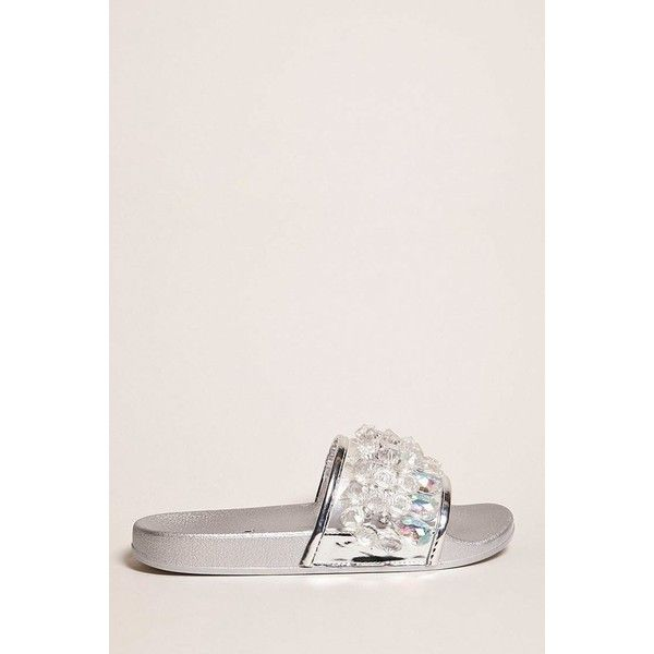 Forever21 Beaded Slide Sandals ($20) ❤ liked on Polyvore featuring shoes, sandals, silver, strappy platform sandals, rhinestone sandals, beaded sandals, platform slide sandals and clear strap sandals