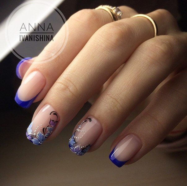 Blue flowered French Manicure