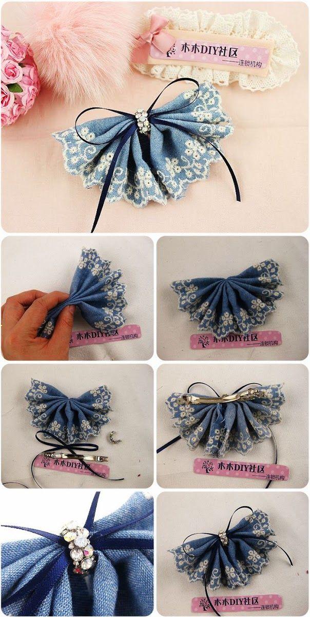 Diy : Denim Lace Flower Head Pin
