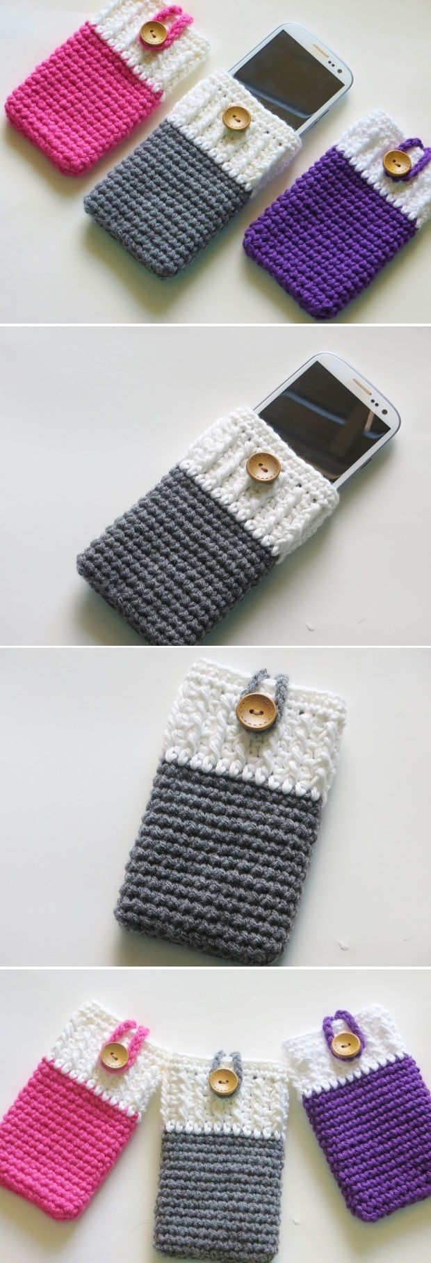 Fun and Useful DIY Crochet Cases Mobile Phone Cozy ༺✿Teresa Restegui http://www.pinterest.com/teretegui/✿༻                                                                                                                                                      More