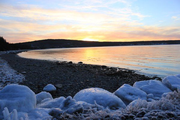 Winter sunset Hopeall Newfoundland