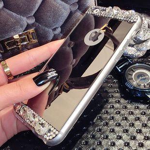 Cáscara del teléfono móvil funda protectora iPhone6 de Apple Mirror Mirror pedrería 6plus accesorios de concha de silicona marea