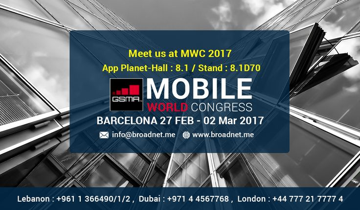 BroadNet Technologies is going to take part in Mobile World Congress 2017, Barcelona, as an exhibitor. Schedule a meeting with our team for Mobile World Congress now or Meet us at MWC 2017 @ Booth 8.1D70, #MWC17