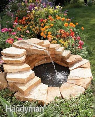 DIY Concrete Fountain link for the How-to:   http://www.familyhandyman.com/landscaping/outdoor-fountains/fountain-how-to-build-a-concrete-fountain/step-by-step
