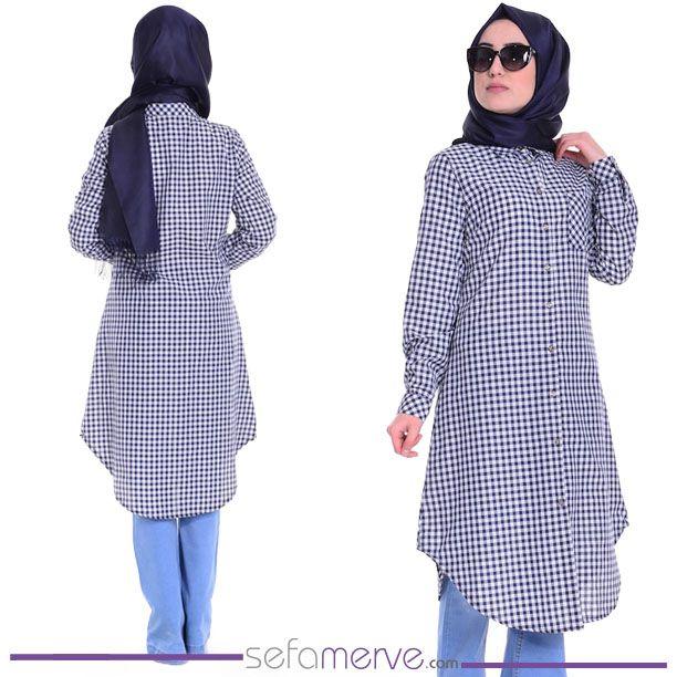 Ekose Tunik 6121-03 Lacivert Beyaz  #sefamerve #tesetturgiyim #tesettur #hijab #tesettür #ferace