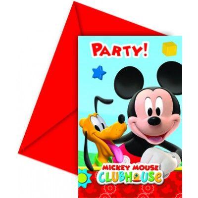 """Ces  6 cartes d'invitations anniversaire Mickey  et leurs enveloppes rouges seront parfaites pour inviter les copains au  goûter d'anniversaire  de votre enfant !   Sur chaque carte d'invitation multicolore, Mickey est représenté avec son chien Pluto avec l'inscription """"Party !"""" écrite en rouge au sur le haut de la carte.   Idée déco : inscrivez votre message à l'intérieur de la carte avec un de nos stylos gel de couleur !"""