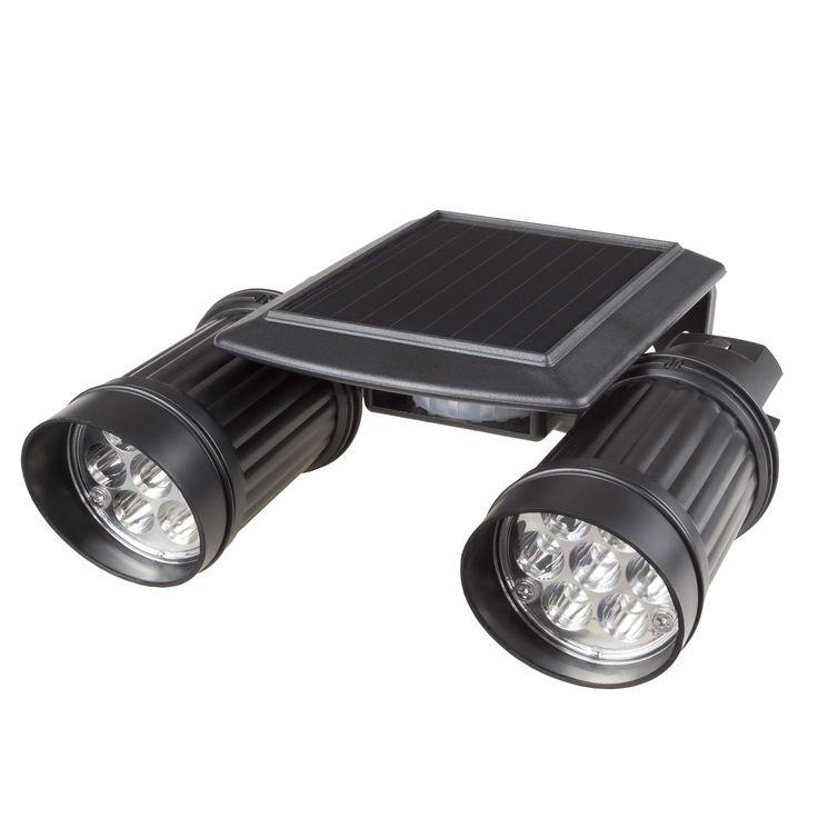 Solar Powered Dual Head Motion Sensor 14-Light Wall Spotlight