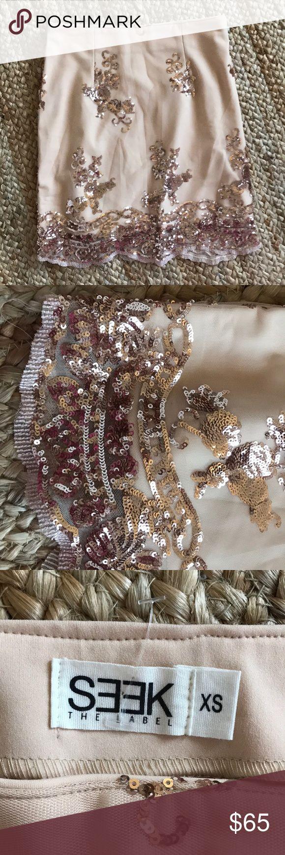 LF SEEK the label rose gold mini skirt Mini skirt from LF soho, sequin detailing, never worn so NWOT LF Skirts Mini