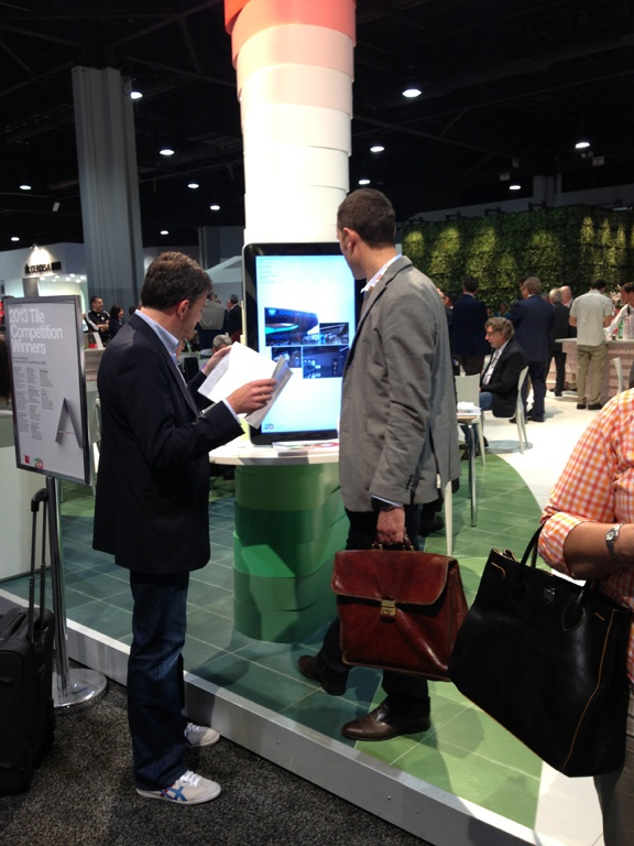 People using our interactive presentation for the Tile Competition's 20th Anniversary