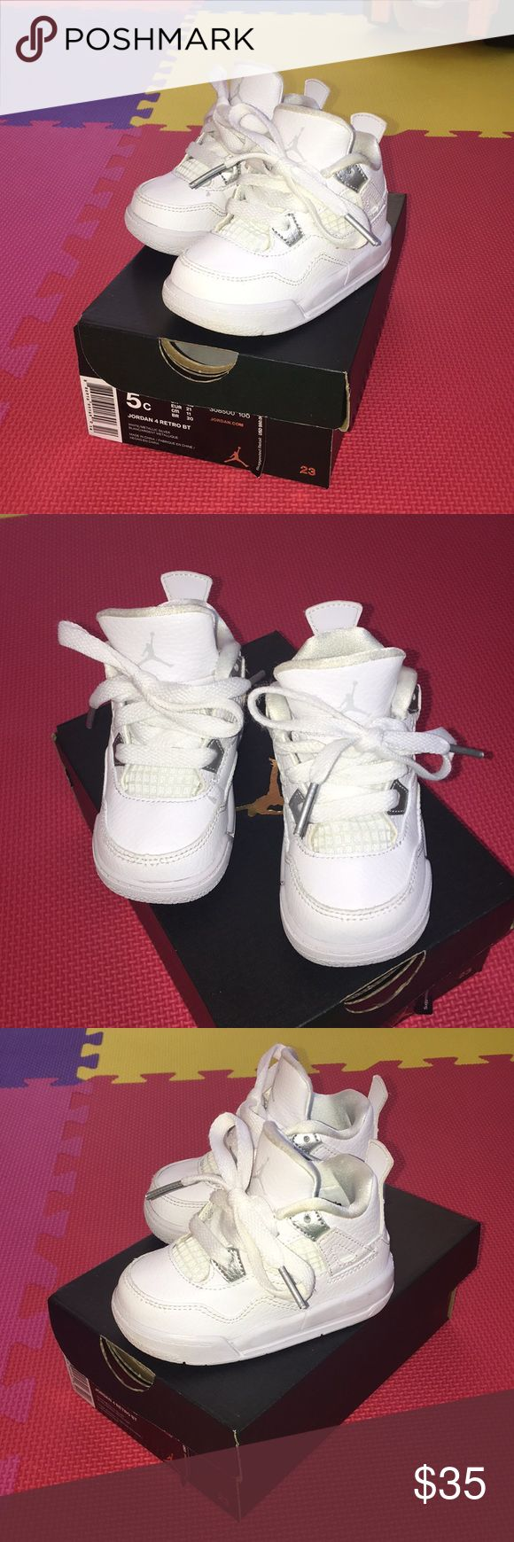 Toddler JORDAN 4 RETRO BT w/box - gently used - size 5 - lace up closure - rubber sole Jordan Shoes Sneakers