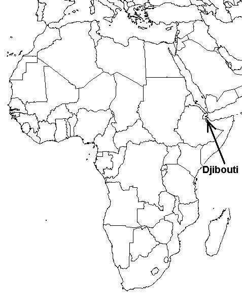 Scenes from Djibouti: Map of Africa with Djibouti