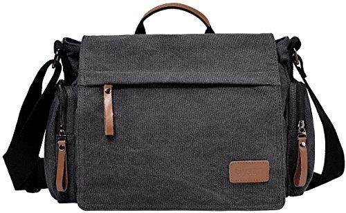 d540be4e8b Gysan Vintage Mens Canvas Laptop Messenger Bag School Bookbags Satchel  Shoulder Bag Travel Black
