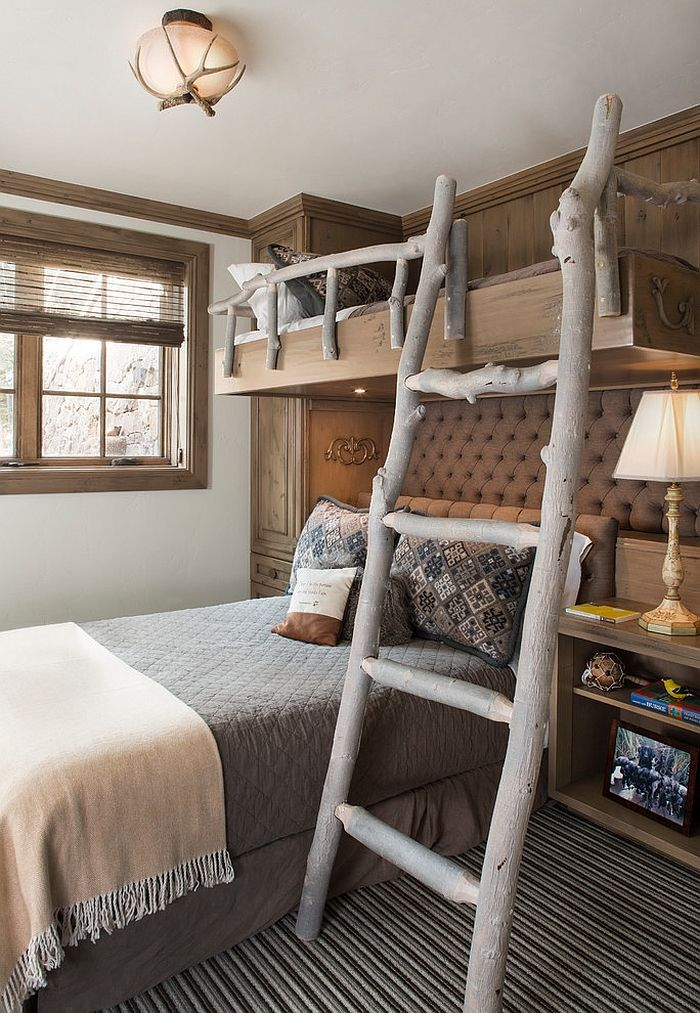 ladder and railing on the bunk bed give the bedroom a cool touch decoist bedrooms 20bedrooms rusticbedrooms childrenelegant bedroomsbedrooms decorideas - Kids Bedroom Design Ideas