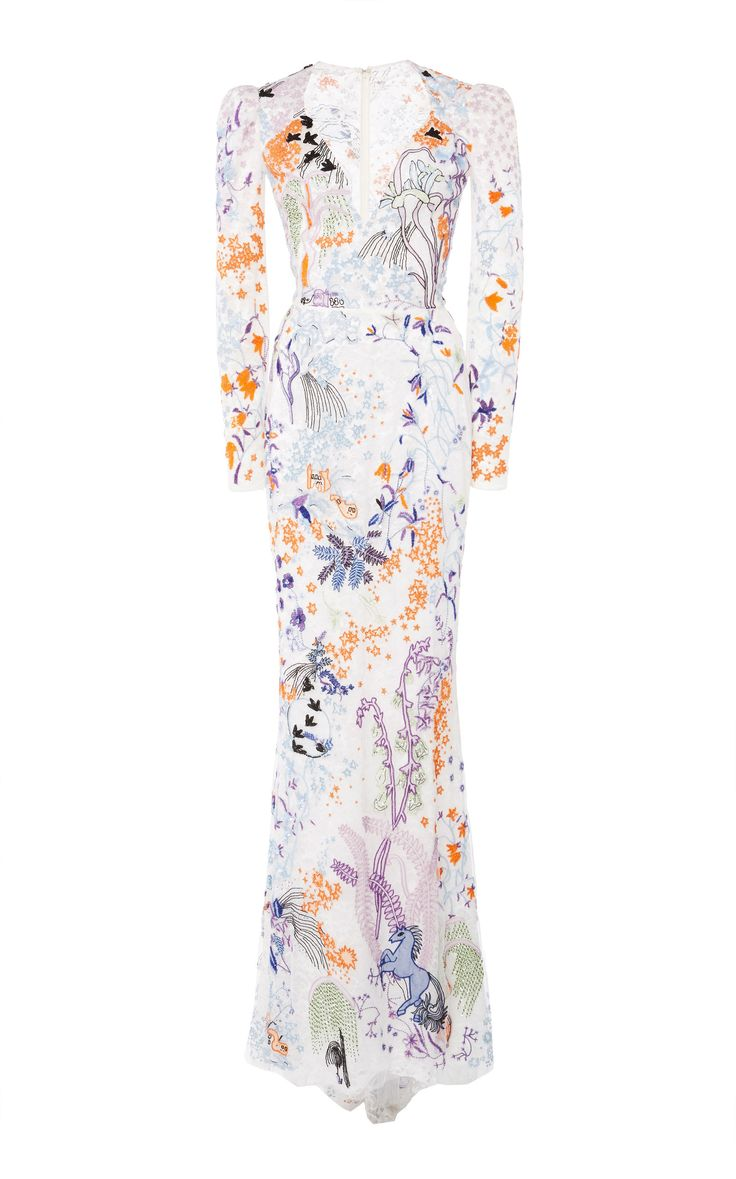 Zuhair Murad Bead Embroidered Long Sleeve Gown