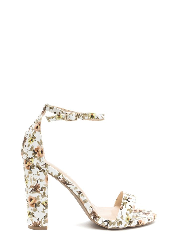 Spring It On Chunky Floral Print Heels WHITE  BLACK - GoJane.com
