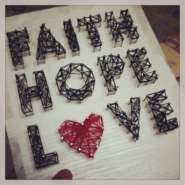 Made A Diy String Art Faith Hope Love String Art Ideas Pinterest