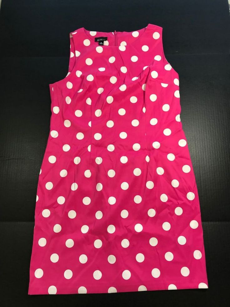 Alyx Polka Dot Sheath Dress Women's Sz 16 Pink and White Classy Sleeveless 1050 #Alyx #SheathDress