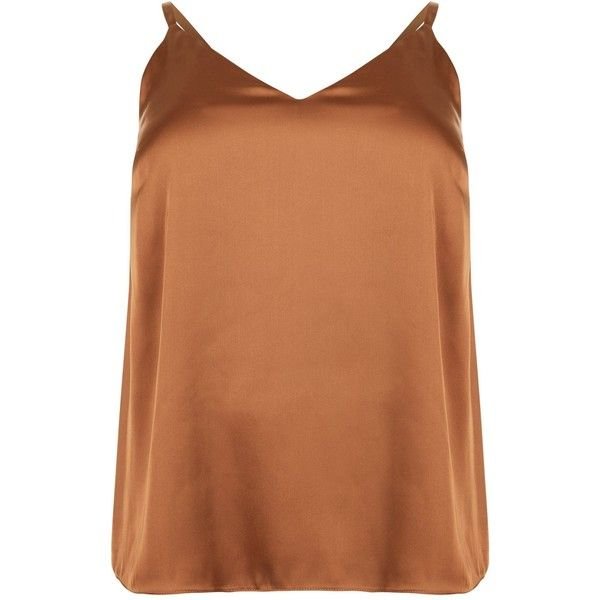 Curves Brown Sateen Cami Top (£6.41) ❤ liked on Polyvore featuring tops, cami tank, cami tank tops, brown cami, camisole tank and brown tank top