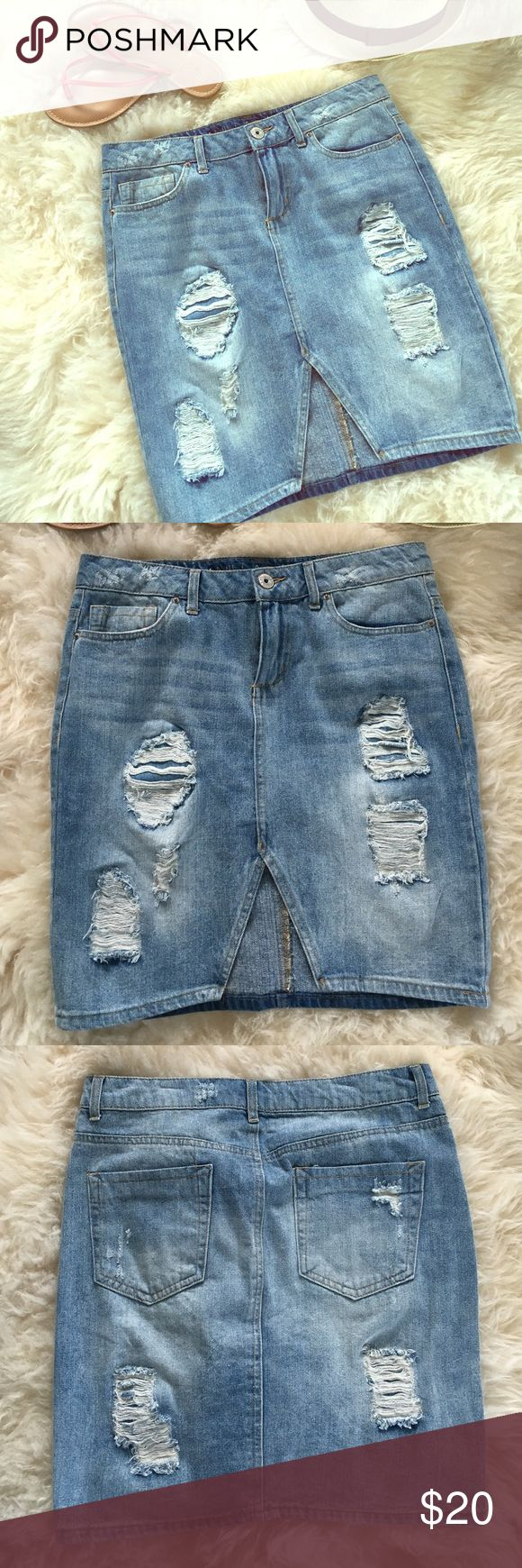 HOST PICK Distressed Jean Skirt This 'Vanilla Star' mid length form fitting jean skirt is the perfect summer and fall go to staple. NWOT (tag came off) never worn. Skirts Mini