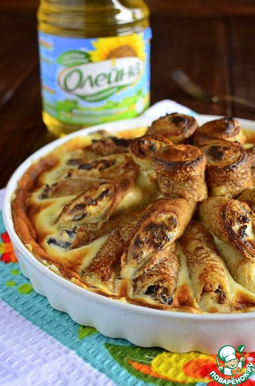 Блины с творогом в сметанном суфле - кулинарный рецепт