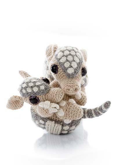 Amigurumi Parent and Baby Animals Crochet Pattern Armadillo