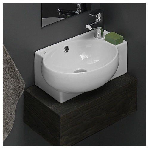 Bathroom Sinks Corner Ceramic White Mini Wall Mount