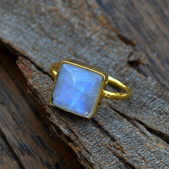Anillo de oro de piedra de luna arco iris 14 anillo de piedra