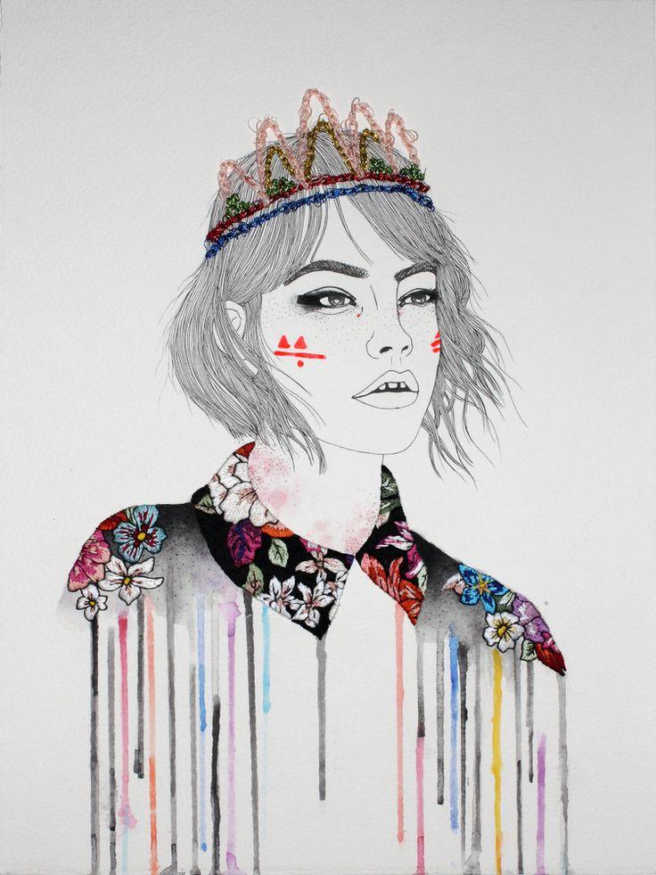 Izziyana Suhaimi embrodery artist illustration au crayon et broderie de couleur sur papier
