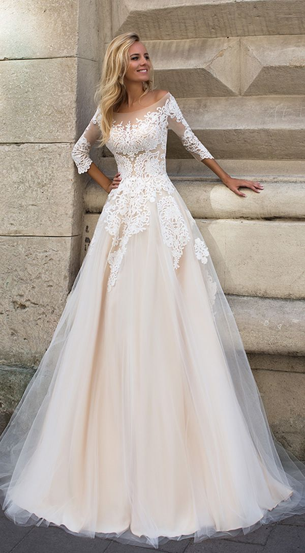 Oksana Mukha blush lace a line wedding gowns 2017 collection