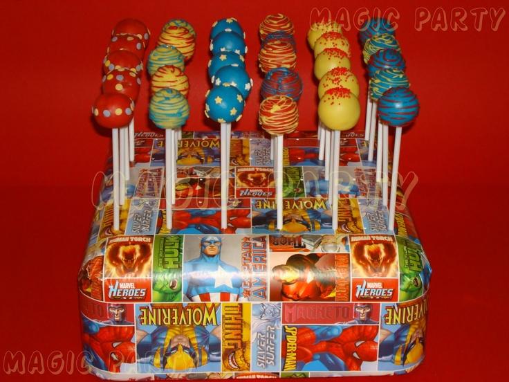superhero cake pops | Cake Pops con los colores temáticos de la fiesta!