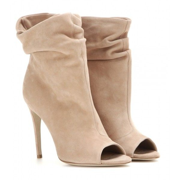 Burberry London Burlison Suede Open-Toe Ankle Boots (19.135 UYU) ❤ liked on Polyvore featuring shoes, boots, ankle booties, heels, booties, burberry, beige, open toe bootie, beige ankle boots and beige booties