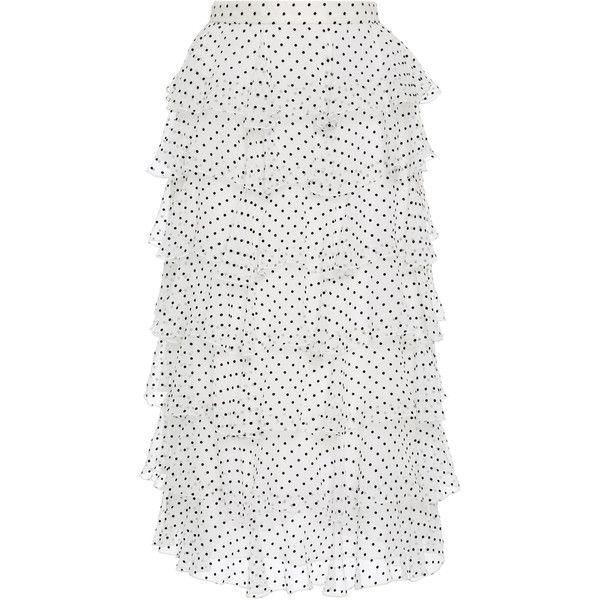 Polka Dot Chiffon Ruffle Skirt | Moda Operandi ($2,345) via Polyvore featuring skirts