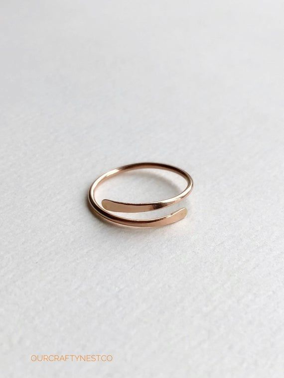 simple minimal rose gold ring hammered and adjustable