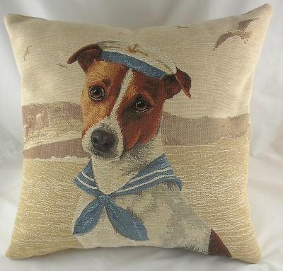 "18"" SEA DOGS SAILOR JACK RUSSELL Dog Belgian Tapestry Cushion Evans Lichfield 