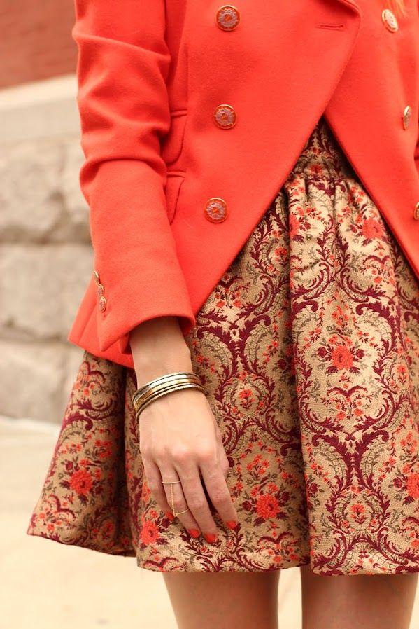 atlantic pacific ootd fashion jcrew tapestry topshop dress orange blazer