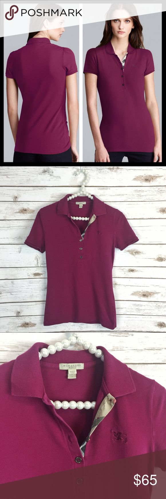 burberry brit // short sleeve pique polo shirt Burberry Brit's pique polo with signature check trim. Short sleeves. Semi-fitted style. 98% cotton, 2% elastane. Machine washable. Gently worn and in great preowned condition. Color is a beautiful wine purple. Burberry Tops Tees - Short Sleeve