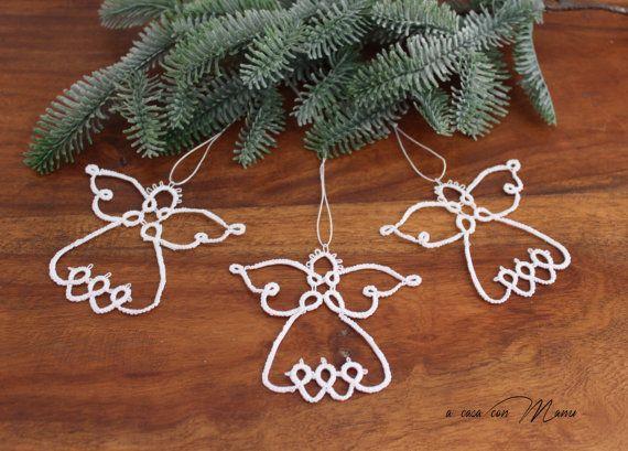Set di 3 angeli a chiacchierino, set of 3 angels tatting, angeli in cotone bianco, decorazioni natalizie,  Christmas ornaments handmade