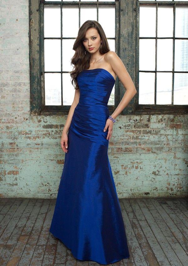 A Line Taffeta Strapless Natural Waist Floor Length Sleeveless Ruching Royal Blue Bridesmaid Dress I M Gonna Be Pinterest