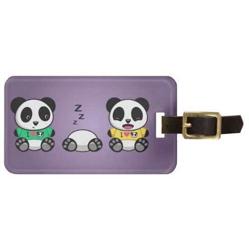 SOLD! Personalized Little Pandas Purple Luggage Tag #cute #panda #kawaii