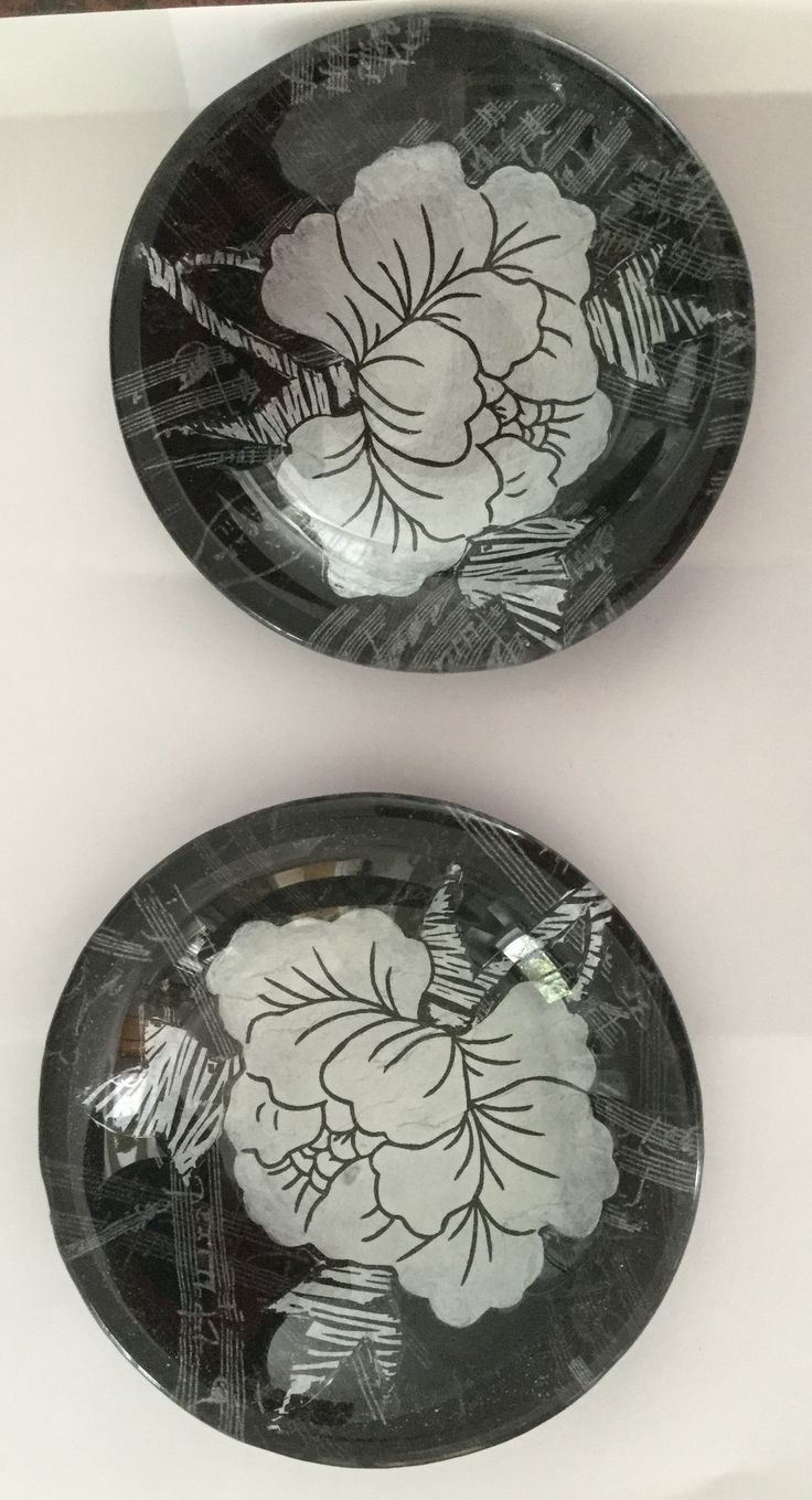 Decoupaged ring dishes
