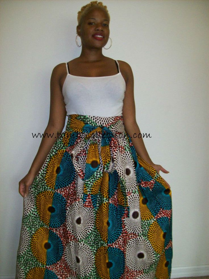 TIA-African Circles Maxi Skirt/ One of a Kind Women's Maxi Skirt / African Maxi Skirt Aqua and Mustard Color Record Print Skirt by tambocollection on Etsy