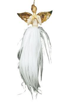 Engel hvit med gullfargete vinger