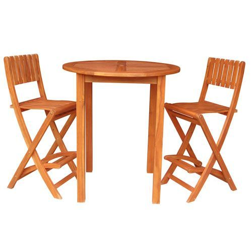 Bar Height Oiled Stained Round Table with Two Folding Stools, Set of Three