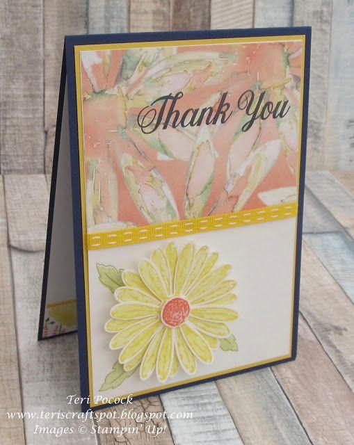 Stampin' Up! - Daisy Delight - Final Class Card .... Teri Pocock - http://teriscraftspot.blogspot.co.uk/2017/07/daisy-delight-final-class-card.html