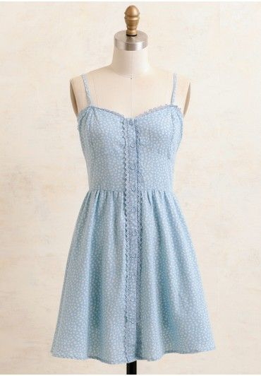 Country Canterbury Floral Dress | lt blue with tiny white  floral print,flare silhouette with button closures . accented with lace floral trim along the bust and front, adjustable shoulder straps, WITH THE HAT OUTFIT